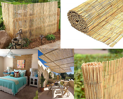 Garden Bamboo Peeled Reed Fence Privacy Fence Wind Screen Sun Shelter 400cm Roll