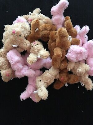 MINIATURE TINY SMALL JOINTED 5.5cm TALL FLUFFY PINK & BROWN BUNNY RABBIT