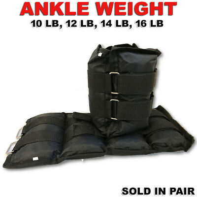 Pro Ankle Weight Adjustable Straps Leg Strength Fitness Training 10 lbs - 16 lbs
