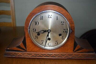 Antique vintage triple chiming wooden mantel  clock german?? maybe