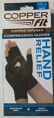 Copper Fit Hand Relief Copper Infused Compression Gloves, L/XL