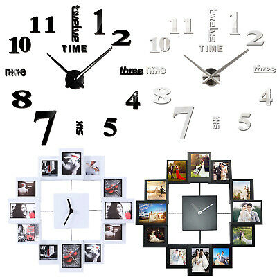 Modern Round Wall Clock Photo Picture Frame & Diy 3D Mirror Roman Numberal Clock