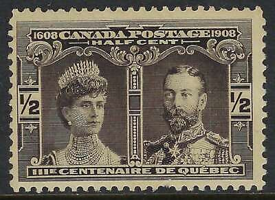 Scott 96 - 1/2c Black 1908 Quebec Tercentenary Prince of Wales short perf FVFNH