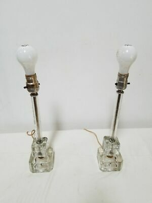 """Vintage Mid Century Modern Cut Glass Cube Crystal Lamps (1 pair) Approx.18"""" tall"""