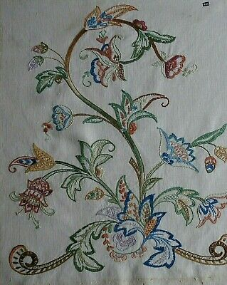 Large completed embroidery crewel work picture panel fire screen OLD