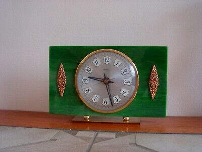 Vintage Bentima Green Faux Onyx Mantle Clock