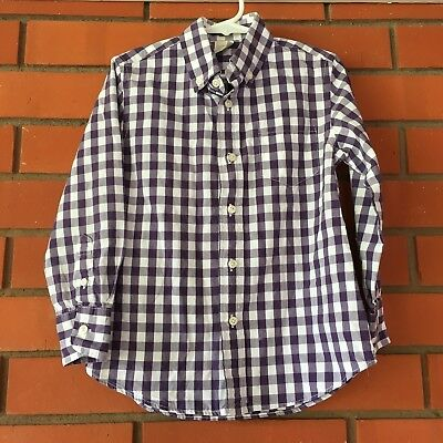 CREWCUTS Girl's Long Sleeve Button Down Purple Gingham Top Shirt Size 4/5