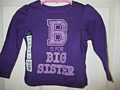 falls creek girls big sister shirt toddler size 12 months purple long sleeve