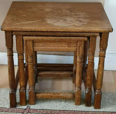 Oak Nest Of Three Tables Good Condition. Solid Wood