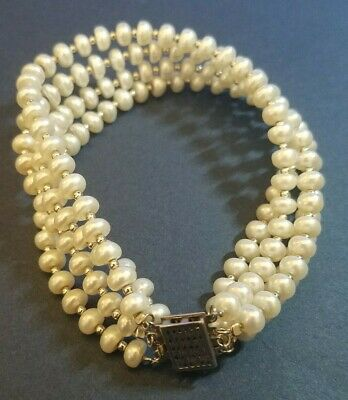 Off The Cuff By Imperial Pearl Freshwater Pearl Murano Glass Silver Bracelet