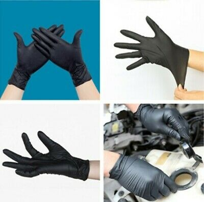 100pcs Black Safety Mechanic Nitrile Gloves Latex Powder Free Workshop S/M/L