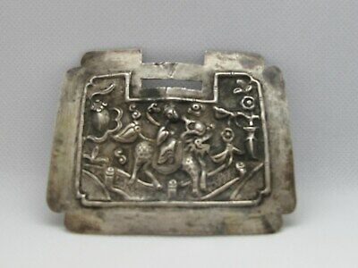 Large Antique Chinese Qing Dynasty Silver Lock-Shaped Pendant W/ Boy & Kylin