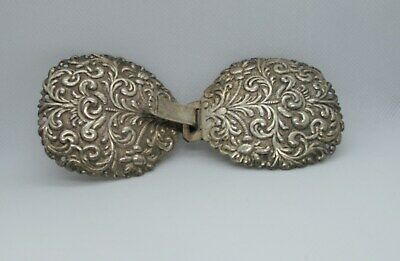 Antique Austrian Silver Repousse Belt Buckle From The 1800'S