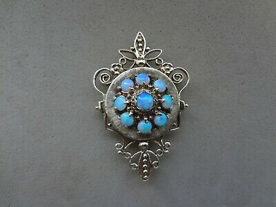 Ornate Vintage 14K Yellow Gold Filigree Round Opal Cabochon Brooch Pendant