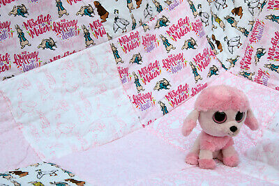 Handmade baby blanket, changing/playing quilted mat - Peter Rabbit pink