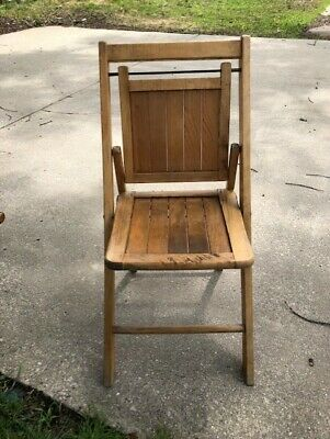 Vintage Wooden Folding Chair Wood Slat Seat Antique