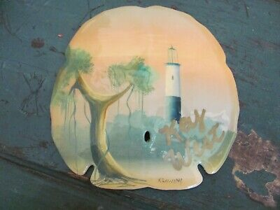 Souvenir Painted Sand Dollar from Key West, Florida, Signed R Lawing