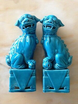 Decorative Vintage Chinese Turquoise Foo Dogs.