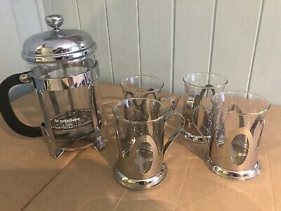 La Cafetiere Coffee Press 6 Cup Chrome With 4 Cups