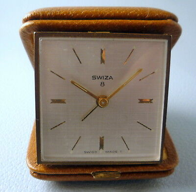 Vintage Swiss Travel Alarm Clock Swiza 8 With Pig Skin Covered Case