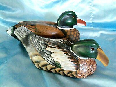 Wooden Wood Mallard Ducks - Hand Painted / Carved/ Décor/ Display Decoy