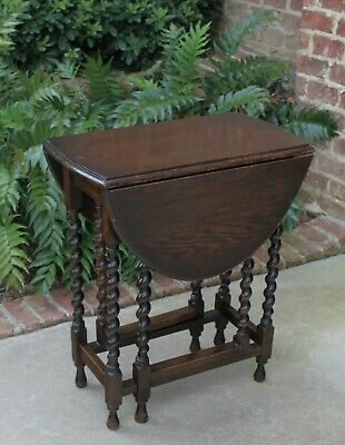 Antique English Oak BARLEY TWIST Table Gate Leg Drop Leaf Oval Table Small