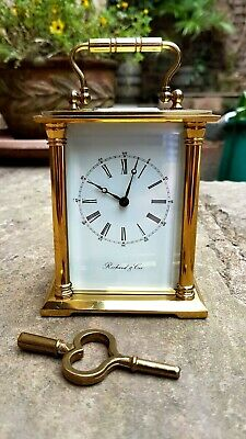 A late 20thC gilt brass bell striking carriage clock by Richard & Cie - Quality