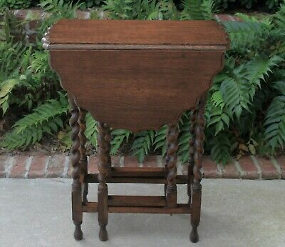 Antique English Oak BARLEY TWIST Table Drop Leaf Oval Gate Leg Pie Crust Top
