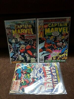 Captain Marvel 33 57 Thanos Thor Bronze Age Lot higher grade and free # 28!