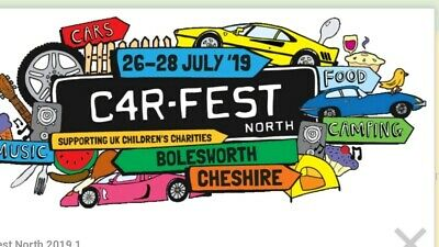 2 X ADULT 3 X CHILD WEEKEND TICKETS (w/out Camping) to CarFest North, JULY 2019