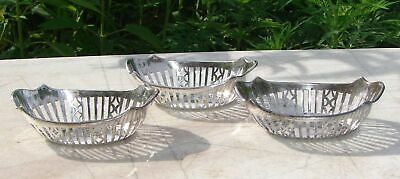 3 Sterling Silver Individual Nut Cups Pierced Candy Dishes English Vintage