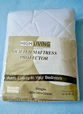 HIGH LIVING QUILTED MATTRESS PROTECTOR WHITE SINGLE 90 X 190+32cms RRP £8.00 NEW