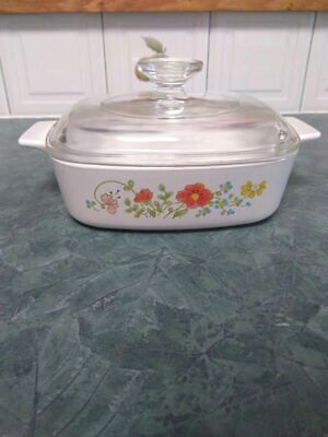 CorningWare Wildflower Small Casserole Dish Pan With Lid 1970's 1L 4 cups