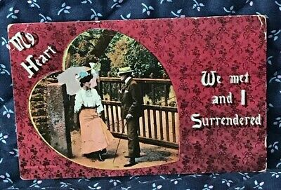 Antique Romance Postcard, We Met And I Surrendered, Courting Couple