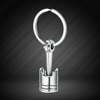 Auto Car Engine Part Silver Metal Piston Model Alloy Keychain Keyring Keyfob