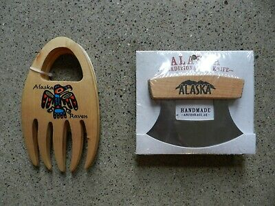 Alaska ULU Knife with Wooden Stand & Salad Pasta Claws Set