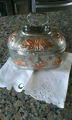 Antique Oval Silver Pandan Box Lotus Floral Hammered Design Copper Accents