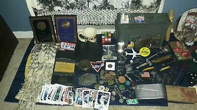 Antique Junk Drawer Lighters Knives Pins Military Ipod cards China razors tools