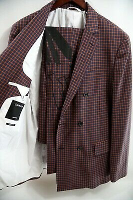 #208 Calvin Klein 205W39NYC Double Breasted Check Suit Size 40 R