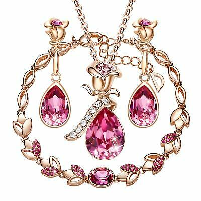 CDE Jewelry Set Rose Gold Plated Flower Pendant Embellished with Crystals (Pink)