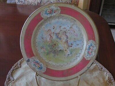 Antique Vintage Vienna Art Plate Victorian Design Cherubs Pink Tin Litho 10""