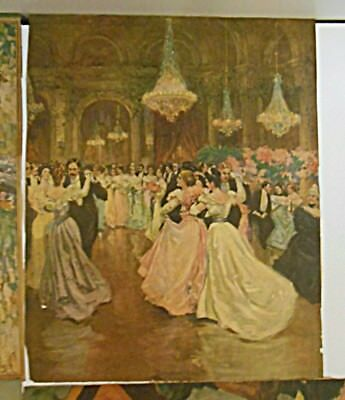 VTG Antique Print of Painting from Waltz Ballroom Circa 1920's  11 x 8 3/4 in