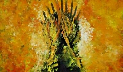 Game of thrones,non aceo original painting.Burning of the throne.