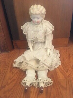 """Antique Blonde Low Brow China Shoulder Head Doll 24"""""""