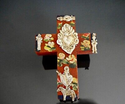 Sacred Heart Tin Milagros Mexican Hand Painted Wood Cross Wall Hanging Folk Art