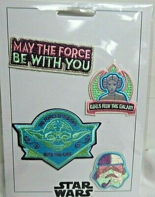 Disney Parks Star Wars Galaxys Edge Pastel Colors Leia Yoda Patch Set PATCHED