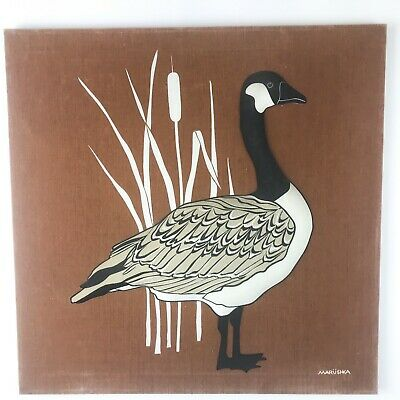 Vintage Marushka Quilted Stuffed Silk Screen Print Goose Stretched Wall Hanging