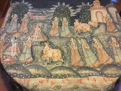 Large hand painted fabric artwork of Indian rural scene