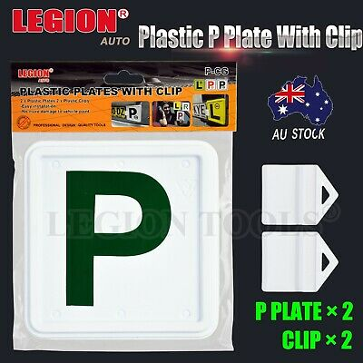2X 2Pcs Plastic Green P Plate Clips Holder Set White Car Number License  L Red