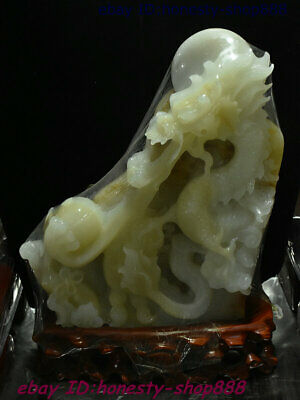 China 100% Natural Jade Stone Old Hand-Carved Dragon Loong God Beast Ball Statue